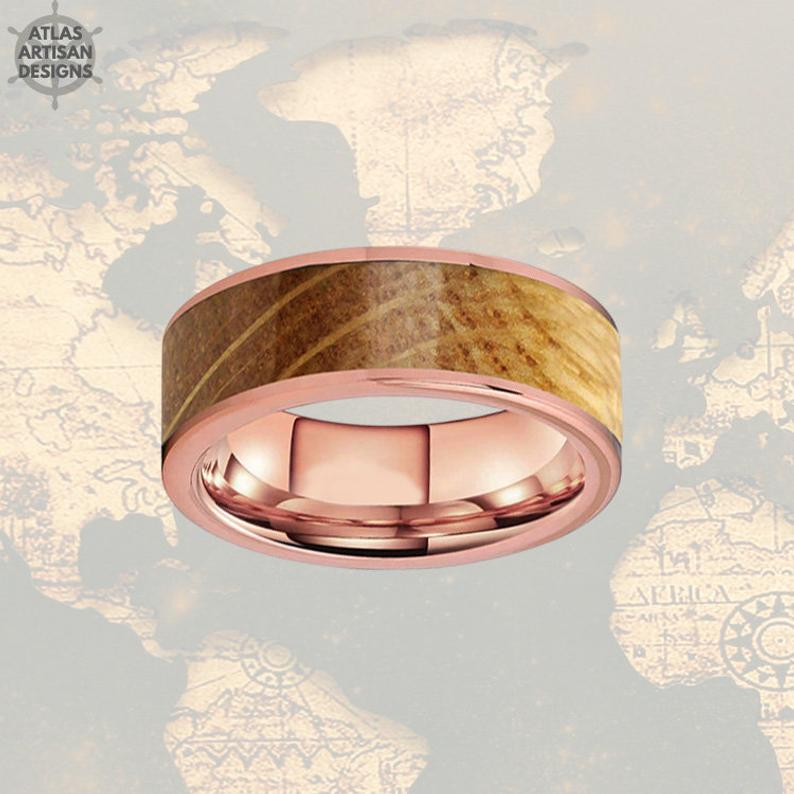 Whiskey Barrel Ring Mens Wedding Band Rose Gold Ring - Atlas Artisan Designs