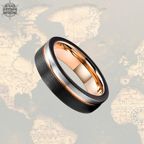 Image of Thin 18K Rose Gold Wedding Bands Womens Ring, 6mm Womens Wedding Band Tungsten Ring, Silver & Rose Gold Ring Mens Wedding Band Couples Rings - Atlas Artisan Designs