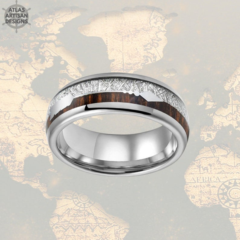 Meteorite Ring Mens Wedding Band Tungsten Ring - 8mm Koa Wood Ring