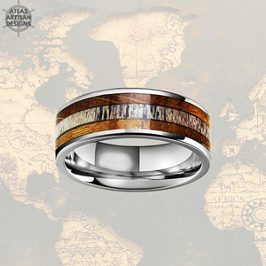 Tungsten Whiskey Barrel Ring with Deer Antler Inay Mens Wedding Band Silver Antler Rings