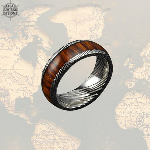 Koa Wood & Damascus Ring, 8mm Damascus Steel Ring Koa Wood Ring Mens Wedding Band - Atlas Artisan Designs