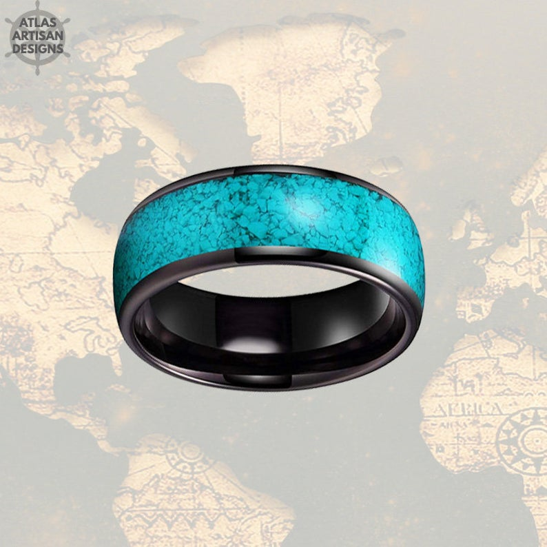 Turquoise Ring Mens Wedding Band Tungsten Ring Black Turquoise Wedding Bands