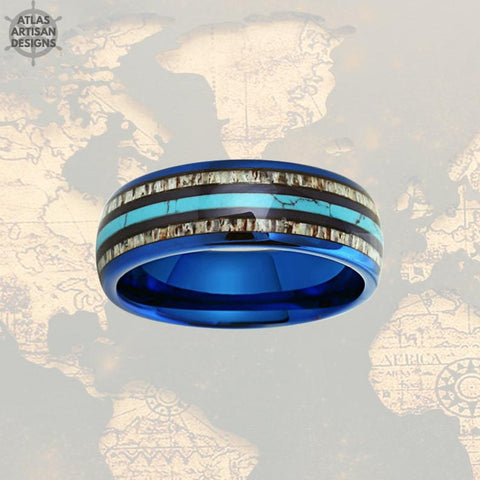 Image of Mens Turquoise Ring with Deer Antler Inlay, Blue Tungsten Mens Ring Unique Nature Ring - Atlas Artisan Designs