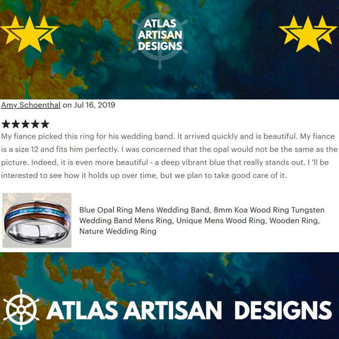Koa Wood Ring Mens Wedding Band Tungsten Ring, Turquoise Wedding Band Mens Ring, Mens Turquoise Ring Blue Tungsten Ring Nature Wedding Ring - Atlas Artisan Designs