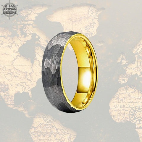 18K Yellow Gold Ring Mens Wedding Band Tungsten Ring, 8mm Silver Hammered Ring Unique Viking Ring for Men, Gold Wedding Band Mens Ring - Atlas Artisan Designs