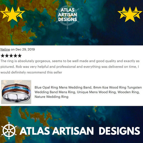 Image of Koa Wood Ring with Deer Antler & Opal Inlay Mens Wedding Band Blue Opal Ring, Mens Tungsten Ring - Atlas Artisan Designs