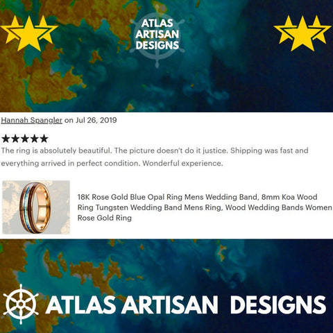 Image of Koa Wood Ring Mens Wedding Band Tungsten Ring, Turquoise Wedding Band Mens Ring, Mens Turquoise Ring Blue Tungsten Ring Nature Wedding Ring - Atlas Artisan Designs