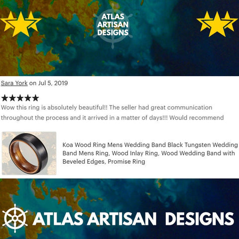 Gunmetal Whiskey Barrel Ring Wooden Ring, Tungsten Wedding Band Mens Ring, Whiskey Barrel Wood Ring - Atlas Artisan Designs