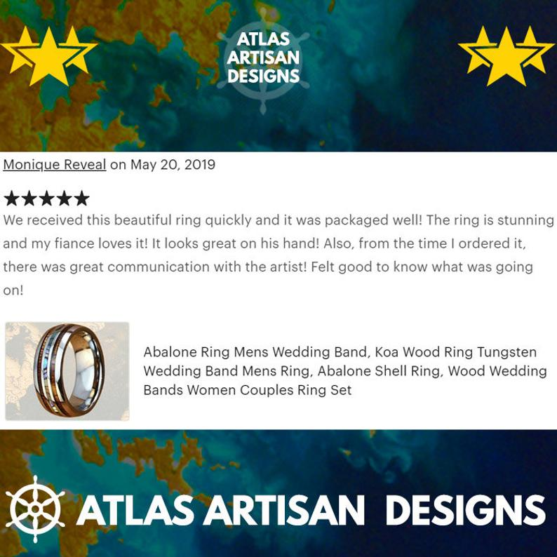 Rose Gold Mother of Pearl Ring, 8mm Koa Wood Ring Mens Wedding Band Rose Gold Ring - Atlas Artisan Designs