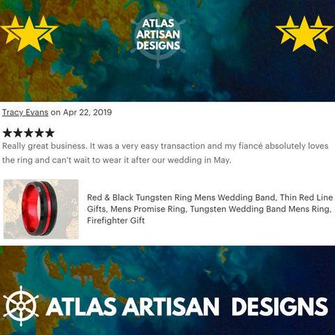 Image of 6mm Meteorite Ring Tungsten Wedding Bands Womens Ring, Rose Gold Arrow Ring Mens Wedding Band Couples Rings Set - Atlas Artisan Designs