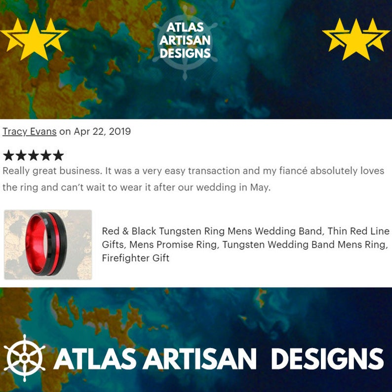 18K Rose Gold Meteorite Ring Mens Wedding Band Tungsten Ring, 8mm Rose Gold Ring Meteorite Wedding Ring for Men - Atlas Artisan Designs
