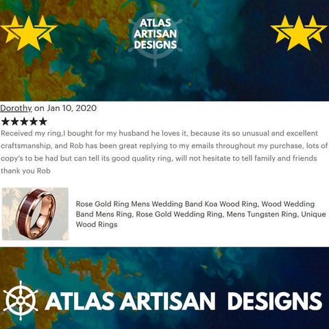 Image of 8mm Koa Wood Ring Mens Wedding Band Abalone Ring, Tungsten Wedding Band Mens Ring Abalone Shell Ring Unique Wedding Bands Women Black Ring - Atlas Artisan Designs