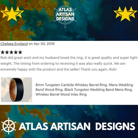 Image of Walnut Wood Ring Mens Wedding Band Tungsten Ring with Arrow Inlay - Atlas Artisan Designs