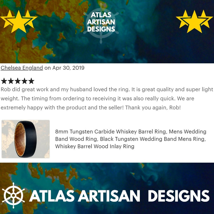 Black Mens Wedding Band Tungsten Ring, Nature Ring Wood Wedding Band Mens Ring, 8mm Sandal Wood Ring Mens Wooden Ring Unique Rings for Him - Atlas Artisan Designs