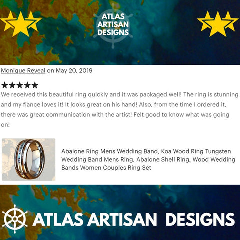 Image of Blue Opal Ring Mens Wedding Band Wood Tungsten Ring - Atlas Artisan Designs