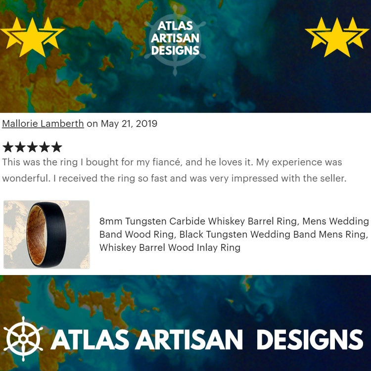 Silver Whiskey Barrel Ring Mens Wedding Band Tungsten Ring with Wood Inlay Ring - Atlas Artisan Designs