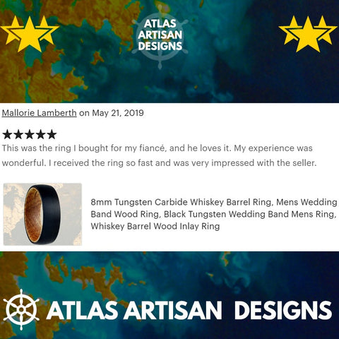 Image of Whiskey Barrel Ring Mens Wedding Band Rose Gold Ring - Atlas Artisan Designs