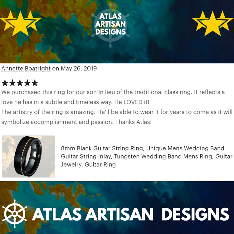 8mm Hammered Ring Mens Wedding Band Wood Ring Black Tungsten Ring - Atlas Artisan Designs