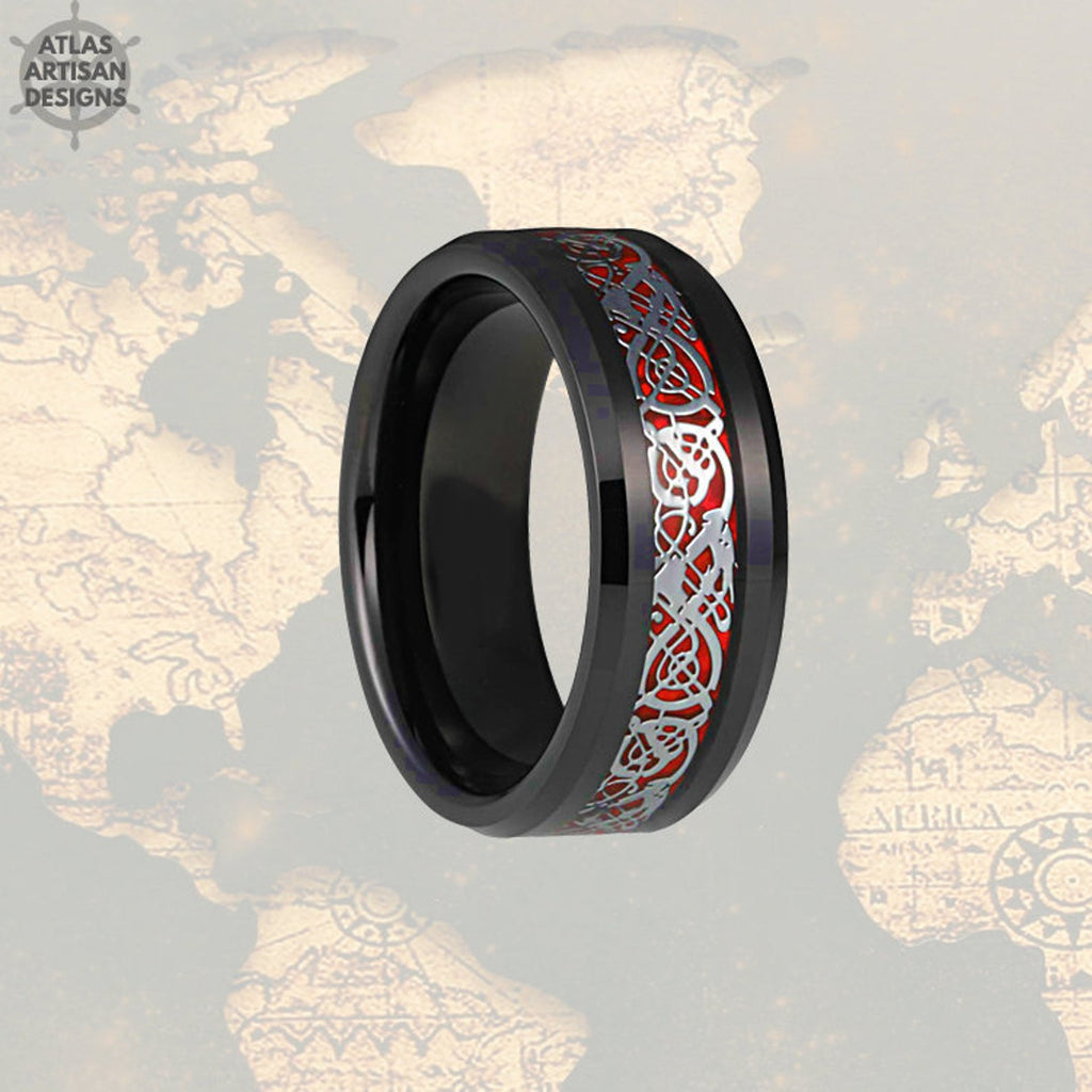 Red Mens Viking Ring Tungsten Wedding Band Mens Ring, Carbon Fiber Ring 8mm Viking Wedding Band Tungsten Ring, Mens Wedding Band Celtic Ring - Atlas Artisan Designs