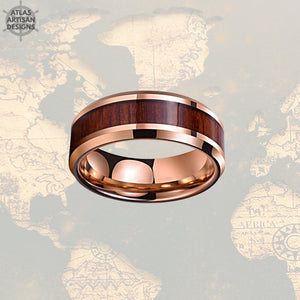 Rose Gold Ring Mens Wedding Band Koa Wood Ring