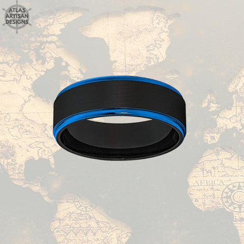 Image of 8mm Mens Wedding Band Black & Blue Tungsten Ring - Atlas Artisan Designs