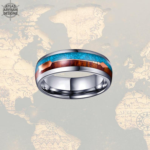 Image of 8mm Koa Wood Wedding Band Natural Turquoise Tungsten Ring Rose Gold Arrow Ring - Atlas Artisan Designs