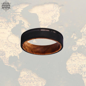 6mm Whiskey Barrel Ring Mens Wedding Band Wood Ring