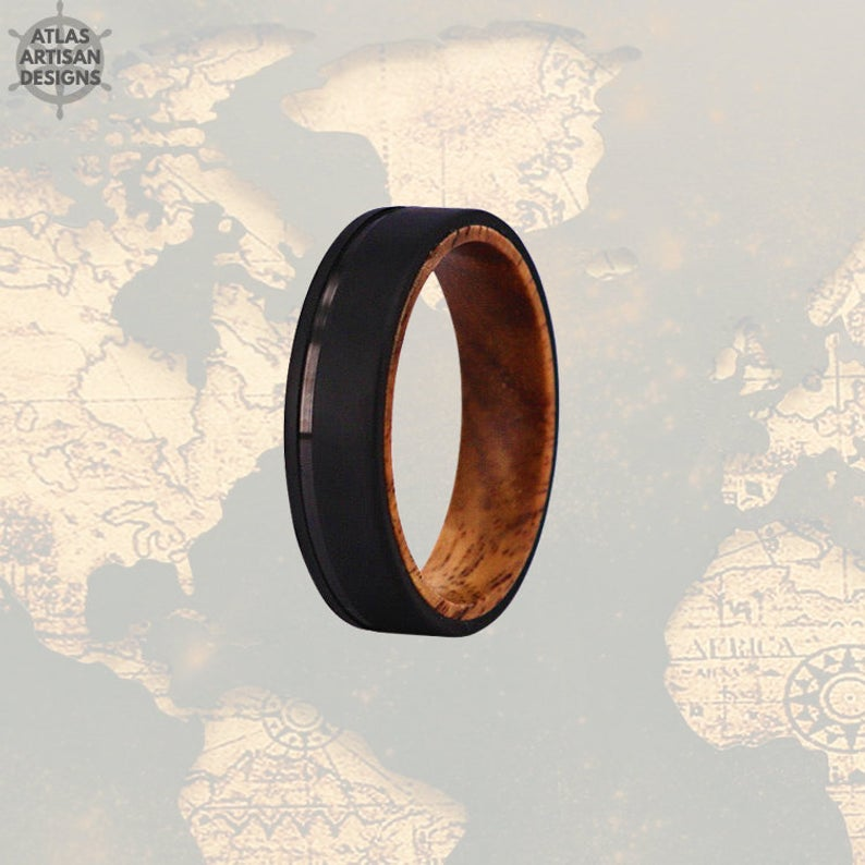 6mm Whiskey Barrel Ring Mens Wedding Band Wood Ring - Atlas Artisan Designs