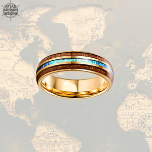 14K Gold Ring Opal Wedding Band Koa Wood Ring Tungsten Wedding Band