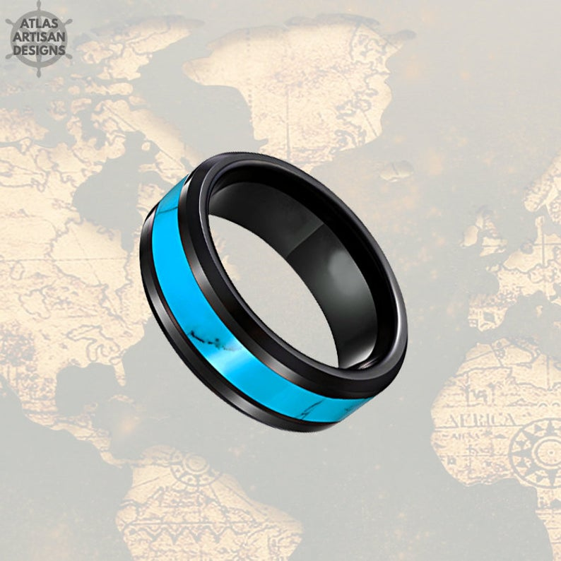 Exotic Turquoise Ring Mens Wedding Band Black Tungsten Ring, 8mm Unique Mens Ring, Turquoise Wedding Bands Womens Ring Turquoise Inlay Ring - Atlas Artisan Designs