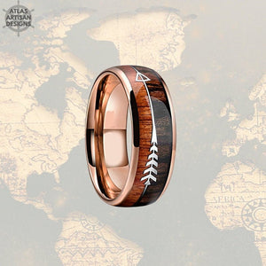 18K Rose Gold Arrow Ring, Koa Wood Ring Mens Wedding Band Tungsten Ring, Unique Mens Ring, Rose Gold Ring, Wood Wedding Band Mens Ring - Atlas Artisan Designs