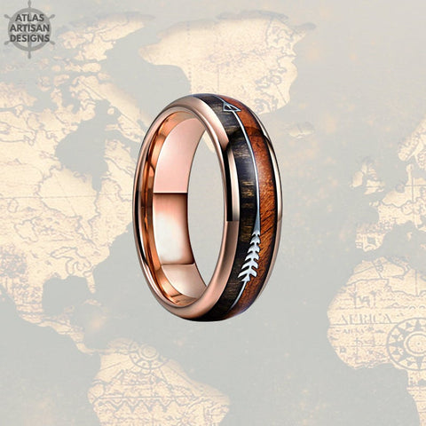 Image of 6mm Wood Wedding Bands Women Ring, 18K Rose Gold Arrow Ring, Koa Wood Ring Mens Wedding Band Tungsten Ring, Unique Mens Ring, Rose Gold Ring - Atlas Artisan Designs