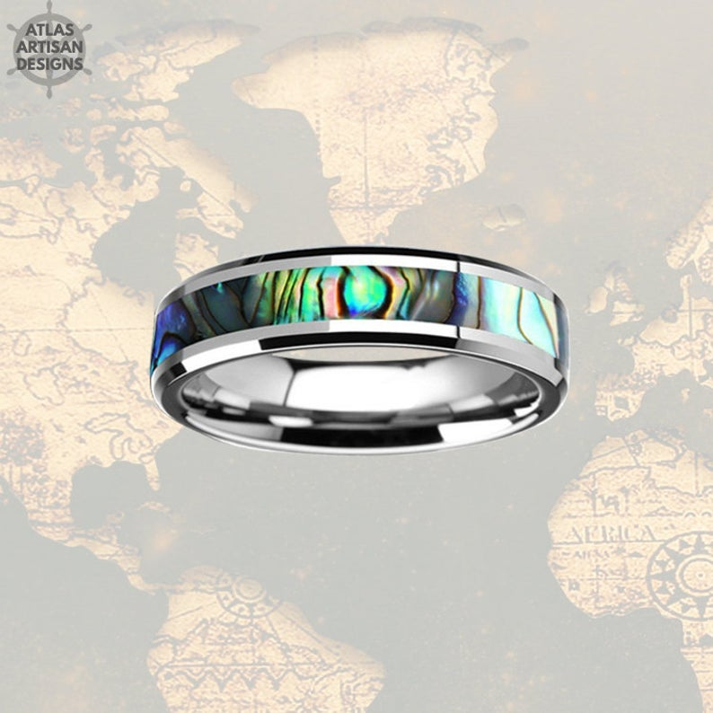 6mm Abalone Ring Mens Wedding Band Tungsten Ring, Tungsten Wedding Band Mens Ring Abalone Shell Ring Wedding Bands Women, Couples Ring Set - Atlas Artisan Designs