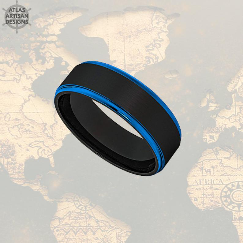 8mm Mens Wedding Band Black & Blue Tungsten Ring - Atlas Artisan Designs