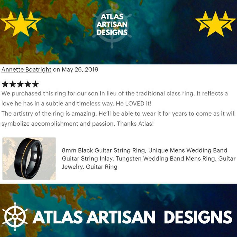 8mm Mens Wedding Band Silver & Blue Tungsten Ring - Atlas Artisan Designs
