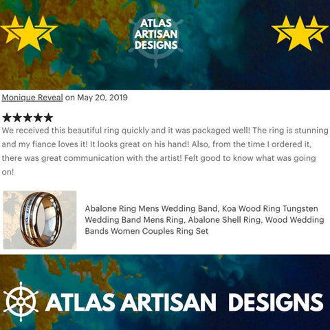 18K Rose Gold Mens Turquoise Ring Wood Wedding Band Deer Antler Ring, Unique Koa Wood Ring Mens Wedding Band Tungsten Ring with Antler Inlay - Atlas Artisan Designs