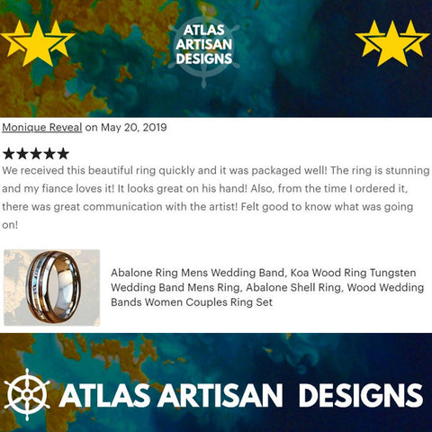 Image of Mens Turquoise Ring Tungsten Wedding Band Viking Ring, 8mm Unique Koa Wood Ring Mens Wedding Band Turquoise Inlay Ring, Silver Wooden Ring - Atlas Artisan Designs