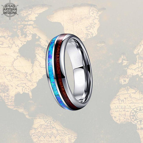 Image of 6mm Wooden Ring Blue Opal Wedding Band Mens Ring - Atlas Artisan Designs