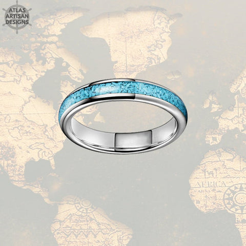 4mm Natural Turquoise Ring Mens Wedding Band Tungsten Ring - Atlas Artisan Designs