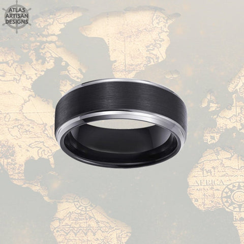 Image of Black Tungsten Ring Mens Wedding Band Silver Step Edges, Tungsten Wedding Band Mens Ring, Mens Promise Ring, Unique Mens Ring, Wedding Ring - Atlas Artisan Designs