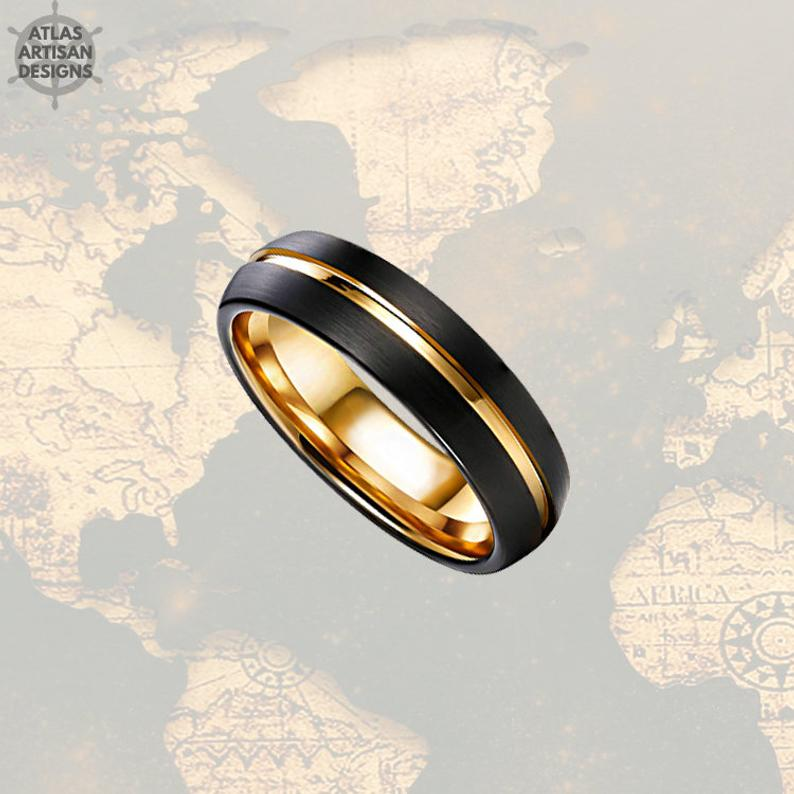 6mm Black & Gold Tungsten Wedding Band Mens Ring, Mens Wedding Band Gold Ring, Thin Wedding Bands Women Ring, Unique Mens Ring, Promise Ring - Atlas Artisan Designs