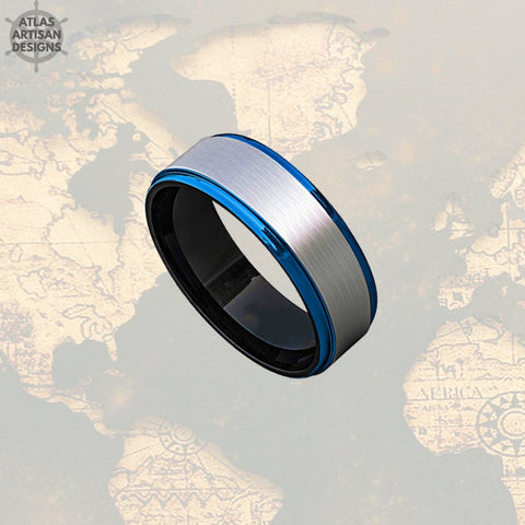 Image of 8mm Mens Wedding Band Silver & Blue Tungsten Ring - Atlas Artisan Designs