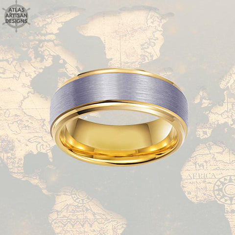 Image of 14K Gold Ring Mens Wedding Band Tungsten Ring Step Edges, Tungsten Wedding Band Mens Ring, Promise Ring, Unique Mens Ring, Gold Wedding Ring - Atlas Artisan Designs
