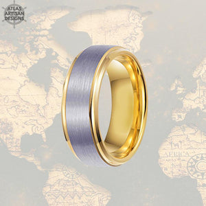 14K Gold Ring Mens Wedding Band Tungsten Ring Step Edges, Tungsten Wedding Band Mens Ring, Promise Ring, Unique Mens Ring, Gold Wedding Ring - Atlas Artisan Designs