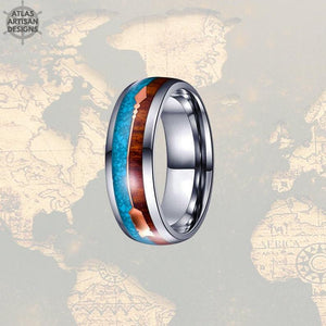 8mm Koa Wood Wedding Band Natural Turquoise Tungsten Ring Rose Gold Arrow Ring - Atlas Artisan Designs