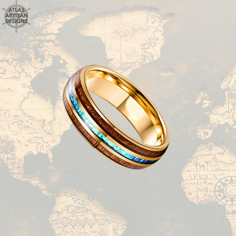 14K Gold Ring Opal Wedding Band Koa Wood Ring Tungsten Wedding Band - Atlas Artisan Designs