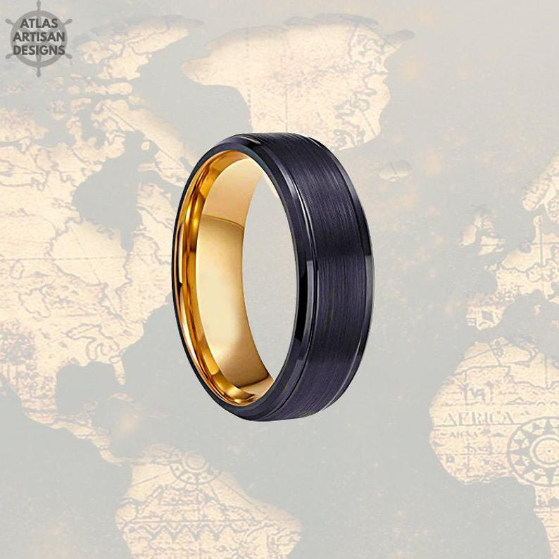 Tungsten Wedding Band Mens Ring, Brushed Black Mens Wedding Band Rose Gold Ring, Rose Gold Wedding Bands Womens Ring, 8mm Unique Mens Ring - Atlas Artisan Designs