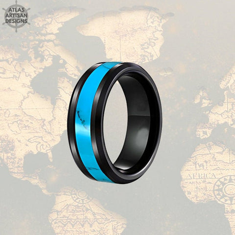 Image of Exotic Turquoise Ring Mens Wedding Band Black Tungsten Ring, 8mm Unique Mens Ring, Turquoise Wedding Bands Womens Ring Turquoise Inlay Ring - Atlas Artisan Designs