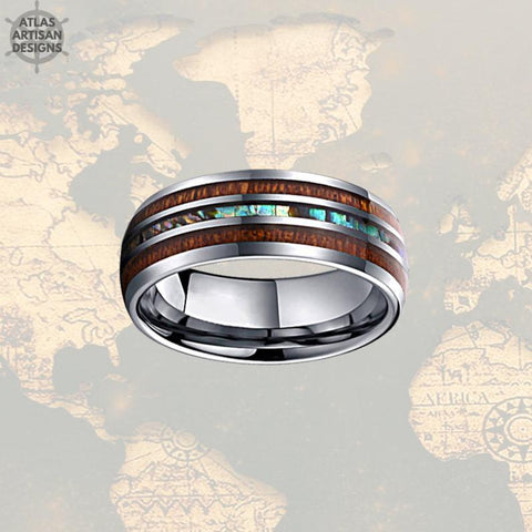 Image of Sizes 4-17 Koa Wood Ring Mens Wedding Band Abalone Ring, Tungsten Wedding Band Mens Ring Abalone Shell Ring Wedding Bands Women Couples Ring - Atlas Artisan Designs