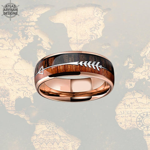Image of 18K Rose Gold Arrow Ring, Koa Wood Ring Mens Wedding Band Tungsten Ring, Unique Mens Ring, Rose Gold Ring, Wood Wedding Band Mens Ring - Atlas Artisan Designs